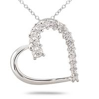 1/10 Carat Diamond Journey Heart Pendant in .925 Sterling Silver