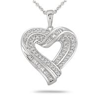 1/3 Carat Diamond Heart Pendant in .925 Sterling Silver