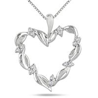 1/10 Carat Diamond Heart Pendant in .925 Sterling Silver