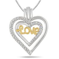 1/10 Carat Diamond Detachable Love Heart Pendant in 18k Gold Plated Sterling Silver