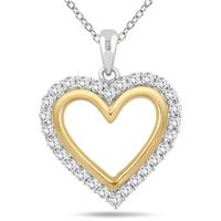 Created White Sapphire Pendant in 18K Gold Plated Sterling Silver