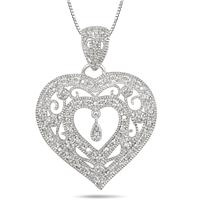 Diamond Heart Filigree Pendant in .925 Sterling Silver