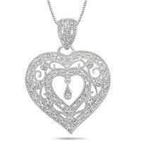 Diamond Heart Filigree Pendant in .925 Sterling Silver