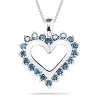 1.00 Carat Blue Diamond Heart Pendant in 14K White Gold