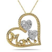 Diamond Heart MOM Pendant in 14K Yellow Gold