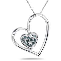 Blue Diamond Double Heart Pendant in White Gold