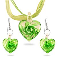 Hand-Blown Artisan Glass Green Heart Pendant and Earring Set