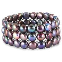 9-9.5MM Natural Freshwater Black Pearl Stretch Bracelet