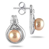6mm Pink Pearl and Diamond Earrings in .925 Sterling Silver
