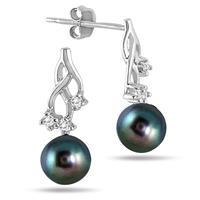 6mm Freshwater Black Pearl and Diamond Earrings in .925 Sterling Silver