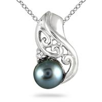 7mm Freshwater Black Pearl and Diamond Engraved Pendant in .925 Sterling Silver