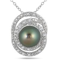 8MM Natural Freshwater Black Cultured Pearl and Diamond Pendant in .925 Sterling Silver