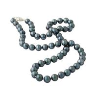 All Natural Black Freshwater Round Pearl Necklace Strand 14K White Gold
