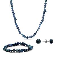 8-9MM All Natural Freshwater Cultured Pearl Jewelry Set in .925 Sterling Silver