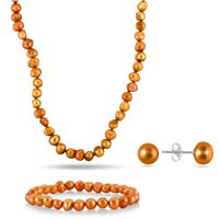 7-8MM All Natural Freshwater Golden Cultured Pearl Jewelry Set in .925 Sterling Silver