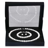 Mother's Day Gift Set - All Natural Freshwater White Pearl Jewelry Set in .925 Sterling Silver
