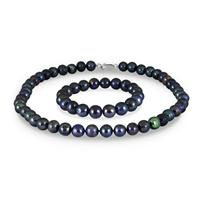 10-11MM Freshwater Black Cultured Pearl Necklace and Bracelet Set with .925 Sterling Silver Clasp