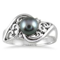 7mm Freshwater Black Pearl and Diamond Engraved Ring in .925 Sterling Silver