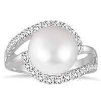 11MM Freshwater White Pearl and White Topaz Ring in .925 Sterling Silver