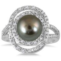 1/4 Carat Freshwater Black Pearl and Diamond Ring in .925 Sterling Silver