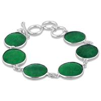 45 Carat Natural Rough Emerald Link Bracelet in .925 Sterling Silver