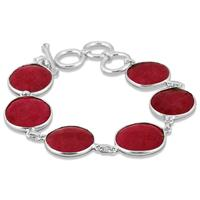 45 Carat Natural Rough Ruby Link Bracelet in .925 Sterling Silver
