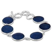 45 Carat Indian Onyx Sapphire Link Bracelet in .925 Sterling Silver