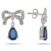 3 Carat Pear Shape Created Sapphire and Diamond Ribbon Drop Earrings in .925 Sterling Silver