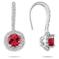 3/4 Carat TW Ruby and Diamond Earrings in 10K White Gold