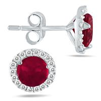 1.00 Carat Ruby and Diamond Stud Earrings in 14K White Gold