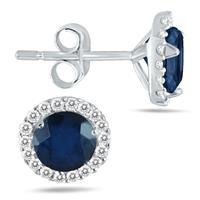 1.00 Carat Sapphire and Diamond Stud Earrings in 14K White Gold