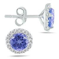 1 Carat Tanzanite and Diamond Stud Earrings in 14K White Gold