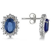 3.25 Carat Sapphire and Diamond Earrings in .925 Sterling Silver