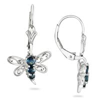 1/2 Carat Sapphire Butterfly Hoop Earrings in .925 Sterling Silver