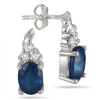2.40 Carat Oval Sapphire and Diamond Earrings in .925 Sterling Silver