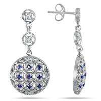7/8 Carat Sapphire and Diamond Circle Puff Earrings in .925 Sterling Silver