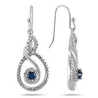 1/3 Carat Sapphire and Diamond Earrings in .925 Sterling Silver