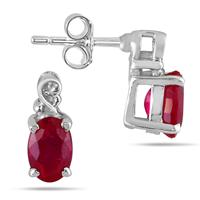 1/2 Carat Oval Ruby Earrings in .925 Sterling Silver