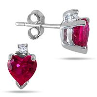 5MM Heart Shape Lab Created Ruby and Genuine Diamond Earrings in .925 Sterling Silver