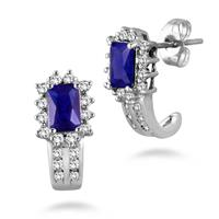 1.50 Carat Emerald Cut Created Sapphire, White Topaz and Diamond Earring in .925 Sterling Silver