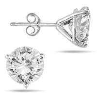 4.50 Carat Natural White Topaz Stud Earrings in .925 Sterling Silver Martini Setting