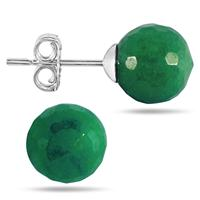 7 Carat All Natural Emerald Ball Earrings in .925 Sterling Silver