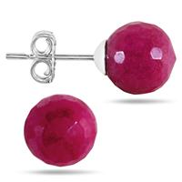 7 Carat All Natural Ruby Ball Earrings in .925 Sterling Silver