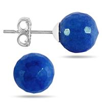 7 Carat Rough Onyx Sapphire Ball Earrings in .925 Sterling Silver
