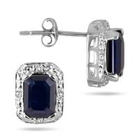 2.70 Carat Emerald Cut Sapphire and Diamond Earrings in .925 Sterling Silver