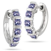 Tanzanite Hoop Earrings in .925 Sterling Silver
