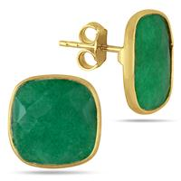 14MM Genuine Cushion Cut Rough Indian Emerald Stud Earrings in 18K Yellow Gold Plated Sterling Silver