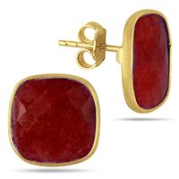14MM Natural Cushion Cut Rough Ruby Stud Earrings in 18K Yellow Gold Plated Sterling Silver