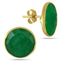15MM Natural Rough Indian Emerald Stud Earrings in 18K Yellow Gold Plated Sterling Silver