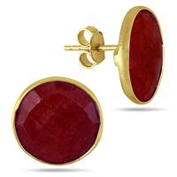 15MM Natural Round Red Onyx Stud Earrings in 18K Yellow Gold Plated Sterling Silver